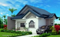 Obani Model is a one storey single attached with a total floor area of 64 square meters with an estimated rough finish budget of less than 800 thousand pesos. Simple Bungalow House Designs, Modern Bungalow House, Bungalow House Plans, Small House Design, Modern House Design, Small House Floor Plans, My House Plans, Family House Plans, Bedroom House Plans
