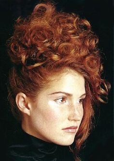 Curly Top Updos For Prom Long Auburn Hair Style