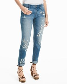 2ec49ff64c33f7 Women s Embroidered Girlfriend Jeans by White House Black Market