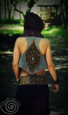 Shiva Punk Leather Vest 100% Artisanal Double Face. £150.00, via Etsy.