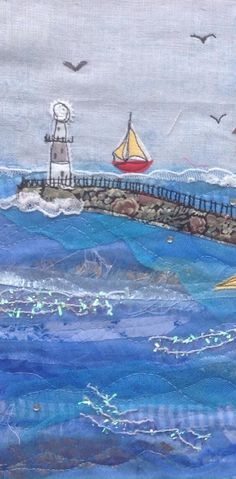 Machine-embroidered sea view Source by julieabrand Freehand Machine Embroidery, Free Motion Embroidery, Machine Embroidery Applique, Fabric Cards, Fabric Postcards, Scrap Fabric Projects, Sewing Projects, Creeper Minecraft, Beach Quilt