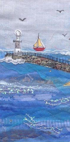 Machine embroidered seascape