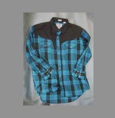 Big MAN-2 XL- custom ELY-Rockabilly -Cowboy/Cowgirl Western Shirt- Black Yoke / black and blue plaid . w/white pearl snap buttons. $23.00, via Etsy.