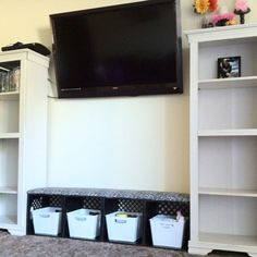 My milk crate bench & $30 bookshelves :))