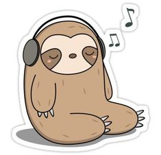 Kawaii Cute Sloth Listening To Music Sticker Die-cut vinyl sticker. Kawaii Cute Sloth Listening To Music T-Shirt and accessories - great for kawaii art and sloth lovers Music Drawings, Cute Cartoon Drawings, Cute Kawaii Drawings, Kawaii Art, Stickers Cool, Stickers Kawaii, Cute Baby Sloths, Cute Sloth, Chibi Manga