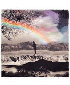 Mary Katrantzou Grey Rainbow Landscape Print Scarf | Scarves by Mary Katrantzou | Liberty.co.uk