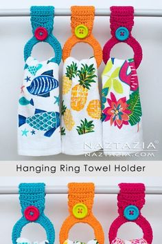 This crochet hanging ring towel holder is made with either a bracelet or a hair elastic. First crochet around the ring, then add the loop and the button. ideas diy How to Crochet a Hanging Ring Towel Holder Crochet Towel Holders, Crochet Dish Towels, Crochet Towel Topper, Crochet Dishcloths, Crochet Kitchen Towels, Crochet Crafts, Yarn Crafts, Easy Crochet, Crochet Projects