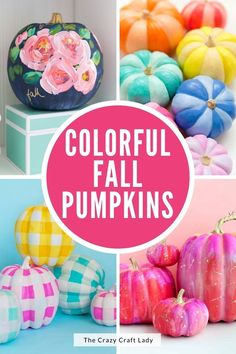 Grab a few (fake or real) pumpkins and your favorite paint colors to make some of these bright and cheery colorful painted pumpkins. Thanksgiving Diy, Thanksgiving Activities, Thanksgiving Decorations, Faux Pumpkins, Painted Pumpkins, Fall Pumpkin Crafts, Fall Crafts, Modern Fall Decor, Apple Painting