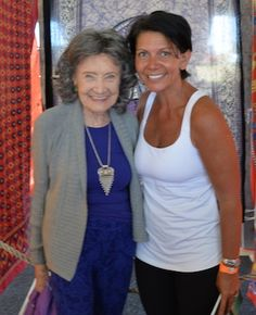 95-year-old yoga master Tao Porchon-Lynch and Julie Hall at the Nantucket Yoga Festival in July 2014.