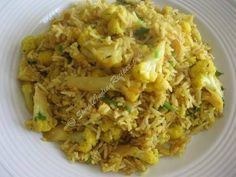 Cauliflower and basmati rice. Yum simple Indian rice dish