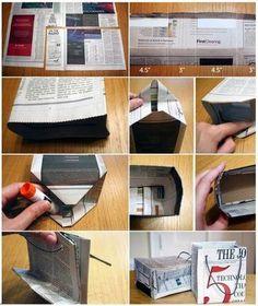 Bolsas con papel de periódico.