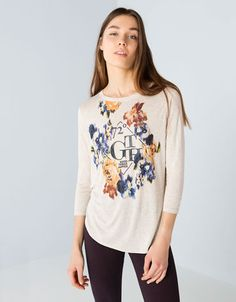 Bershka United Kingdom - Bershka floral and text T-shirt