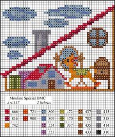 Diagrama casa de punto de cruz: la buhardilla