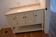 Turned Leg Vanity, possible for extra kitchen storage with a butcher block top Dresser Vanity Bathroom, Diy Vanity, Bathroom Furniture, Bathroom Ideas, White Vanity, Bathroom Cabinets, Bathroom Vanities, Master Bathroom, Furniture Plans