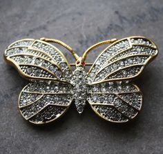 Vintage Gold Tone Butterfly Rhinestone Brooch