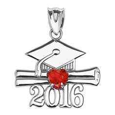 Sterling Silver Heart July Birthstone Class of 2016 Graduation Pendant -- Check this awesome product by going to the link at the image.