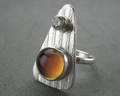 Mood Ring, Sterling Silver and CZ, handmade, size 7.5