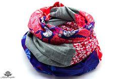 Rundschal Schal dunkelblau grau rot - ein Lieblingsstück aus der #lieblingsmanufaktur - Patchwork-Unikate zum Verlieben