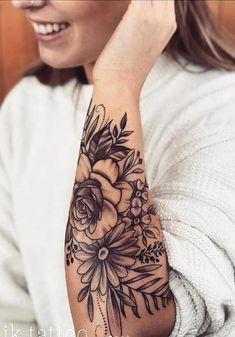 20 Cool tattoo models - Tattoos of Hannah Feather Tattoos, Rose Tattoos, Body Art Tattoos, New Tattoos, Floral Arm Tattoo, Forearm Flower Tattoo, Half Sleeve Flower Tattoo, Floral Tattoos, Mandala Tattoo