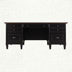 Alderson Executive Desk With Oak Top In Black | Arhaus Furniture