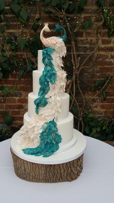 Peacock Wedding Cake by Emma Waddington - Gifted Heart Cakes Heart Wedding Cakes, Fall Wedding Cakes, Unique Wedding Cakes, Wedding Cake Designs, Wedding Cake Toppers, Wedding Themes, Rustic Wedding, Wedding Photos, Wedding Ideas