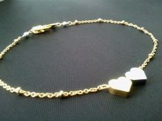 Tiny Heart Silver & Gold Bracelet - cute, small, tiny, simple, modern, everyday jewelry - lovely gift. $20.50, via Etsy.