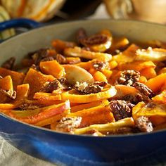 I'm SO making this -- roasted butternut squash and apples with maple glazed pecans via The Food Channel