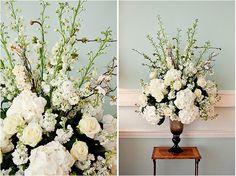 Hydrangea, Roses, Stocks in Beautiful Transluscent Black Vase - Botleys Mansion