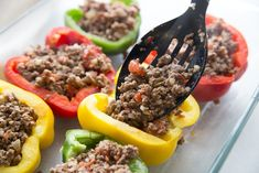 This Keto Stuffed Peppers recipe is certain to become a family favorite in your home! It's simple, delicious, and keto-friendly. Low Carb Keto, Low Carb Recipes, Diet Recipes, Cooking Recipes, Diabetic Recipes, Recipies, Healthy Recipes, Keto Stuffed Peppers, Food Places