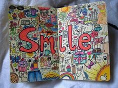 Smile :)- I just like the idea of making a big word then surrounding it with little doodles, it looks really creative!!