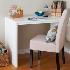 This easy DIY desk is versatile in any corner of your house. Here, we've positioned it by an expansive media wall.