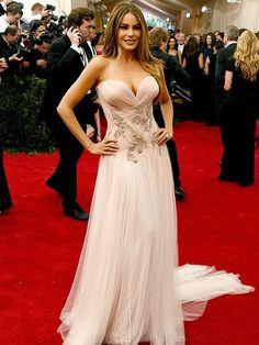 Sofia Vergara Pink Strapless Tulle Celebrity Dress Met Gala 2015 Red Carpet