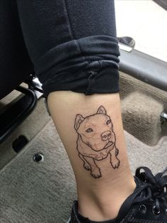 Pitbull, tattoo, outline, dog,