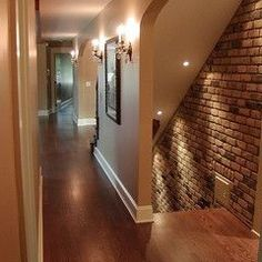"""Basement entry. THIS TAKES THE """"creepy"""" basement stairs look to elegance!"""