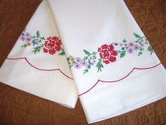 vintage embroidered pillowcases red roses by RareRagsandTreasures, $24.00