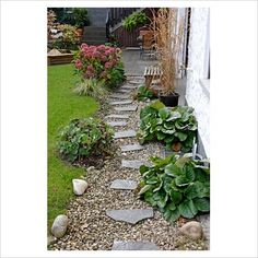 stepping stone path with gravel | GAP Photos - Garden & Plant Picture Library - Stepping stone path ...