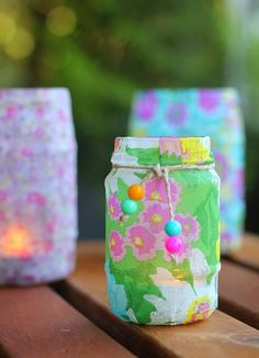what you can do with jars and pretty napkins