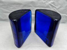 Pair Vintage 1960's Blenko Cobalt Blue Half Moon Bookends ...Sold for $80 plus SH in 2013