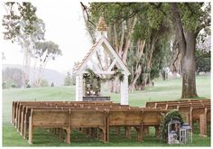 Archive's Little White Chapel, Romantic handcrafted white chapel altar available for your wedding. Shown with our Vintage Pews