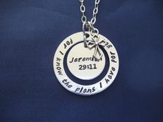 Jeremiah 29:11 For I know the plans I have for you hand stamped washer necklace - Bible Verse Necklace - Scripture Necklace by TheVerseWithin on Etsy