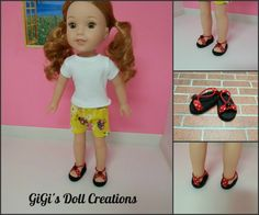 Doll Sandals fits Wellie Wishers Dolls by GiGisDollCreations Girl Doll Clothes, Girl Dolls, American Girl Wellie Wishers, Wellie Wishers Dolls, Glitter Girl, Baby Album, New Dolls, Professional Look, Doll Shoes