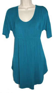 9062845f2fed3 OLD NAVY MATERNITY Teal Green Blue Relaxed Jersey Tunic Top Tee T Shirt S  #OldNavy