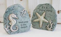 California Seashell Company Retail - Sea Life Stones - Set of 2, $17.99 (http://www.caseashells.com/sea-life-stones-set-of-2/)