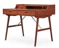 An Arne Wahl Iversen teak desk, Vinde Møbelfabrik, Denmark, model no 56.
