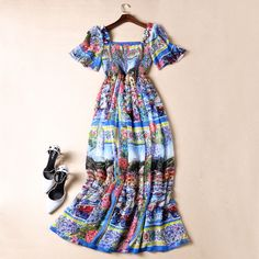 Find More Dresses Information about Free Shipping 2016 Vintage Print Pleats Long Beach Dresses Square Collar Batwing Sleeves Runway Dress Vestidos   41612,High Quality dress single,China dress up clothes women Suppliers, Cheap dress folding from Queen's Luck on Aliexpress.com