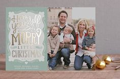 Merry Typography Foil-Pressed Holiday Cards by Ale... | Minted.com