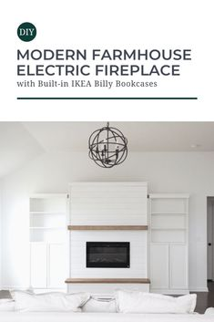 Newest Snap Shots Electric Fireplace with storage Thoughts Say goodbye to a boring, blank wall! Learn how to install an electric fireplace with floating mantl Modern Farmhouse Diy, Fireplace Built Ins, Ikea Bookcase, Faux Fireplace Diy, Build A Fireplace, Diy Shiplap, Fireplace, Bookshelves Diy, Home Fireplace