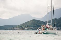 this bride arrived by boat for her entrance - so awesome!