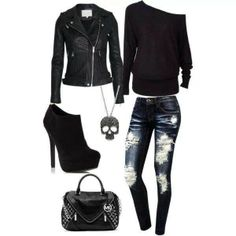 this resembles half my closet!  love it!  fashion black booties skinny jean sweater