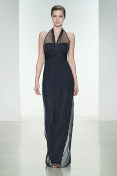 Understated Bridesmaid Elegance by Amsale:   Navy Tulle with Halter